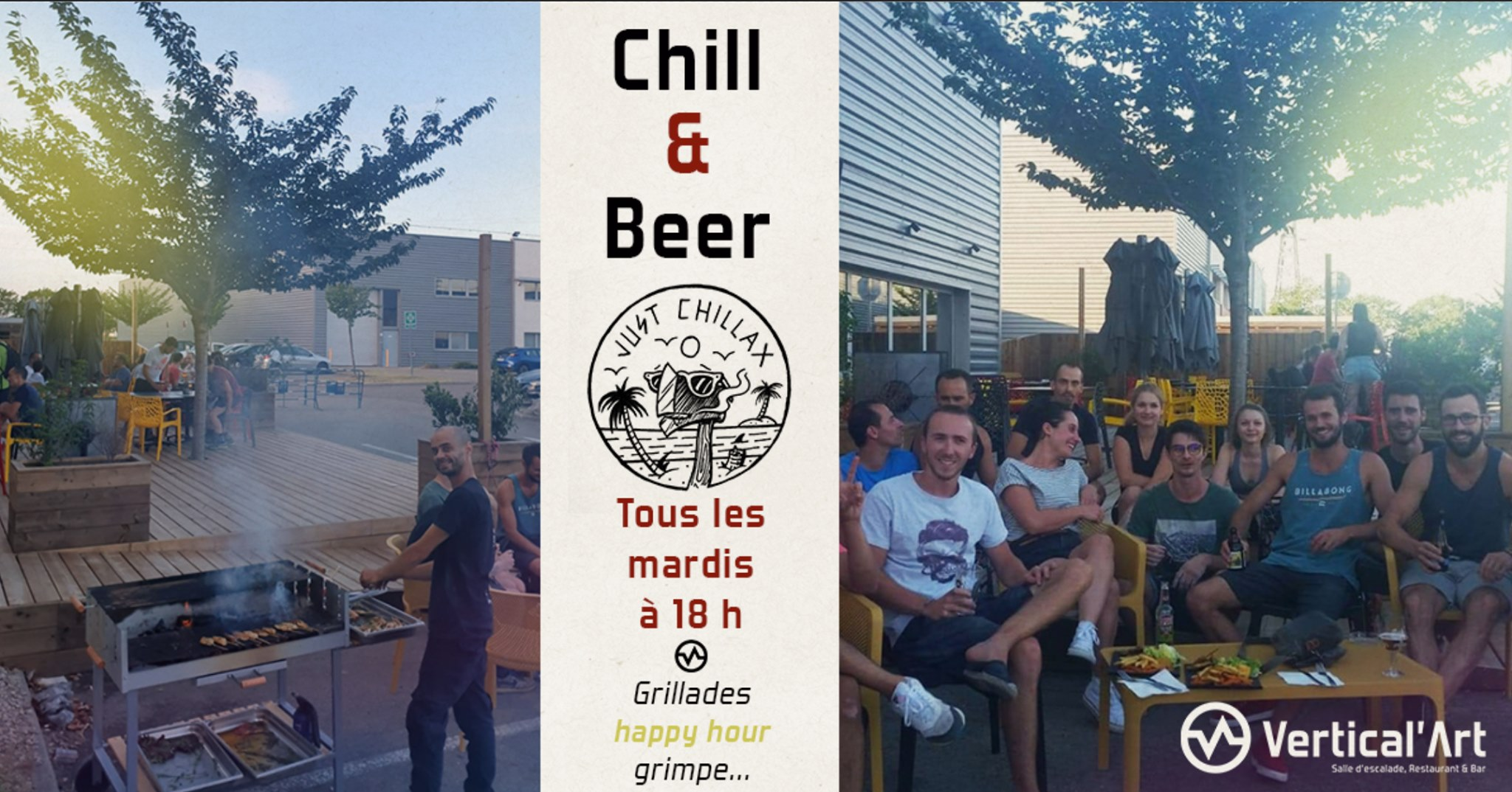 chill and beer - barbecue - convivial en terrasse et DJ set - salle d'escalade de bloc Vertical'Art lyon restaurant et bar