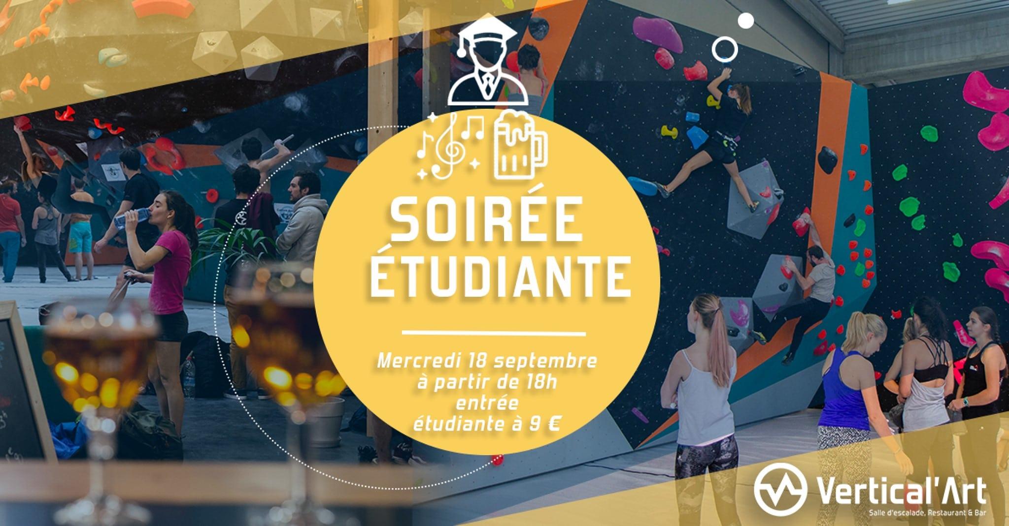 soirée étudiante à lyon - entrée à tarif réduit - Vertical'Art Lyon salle d'escalade de bloc restaurant et bar