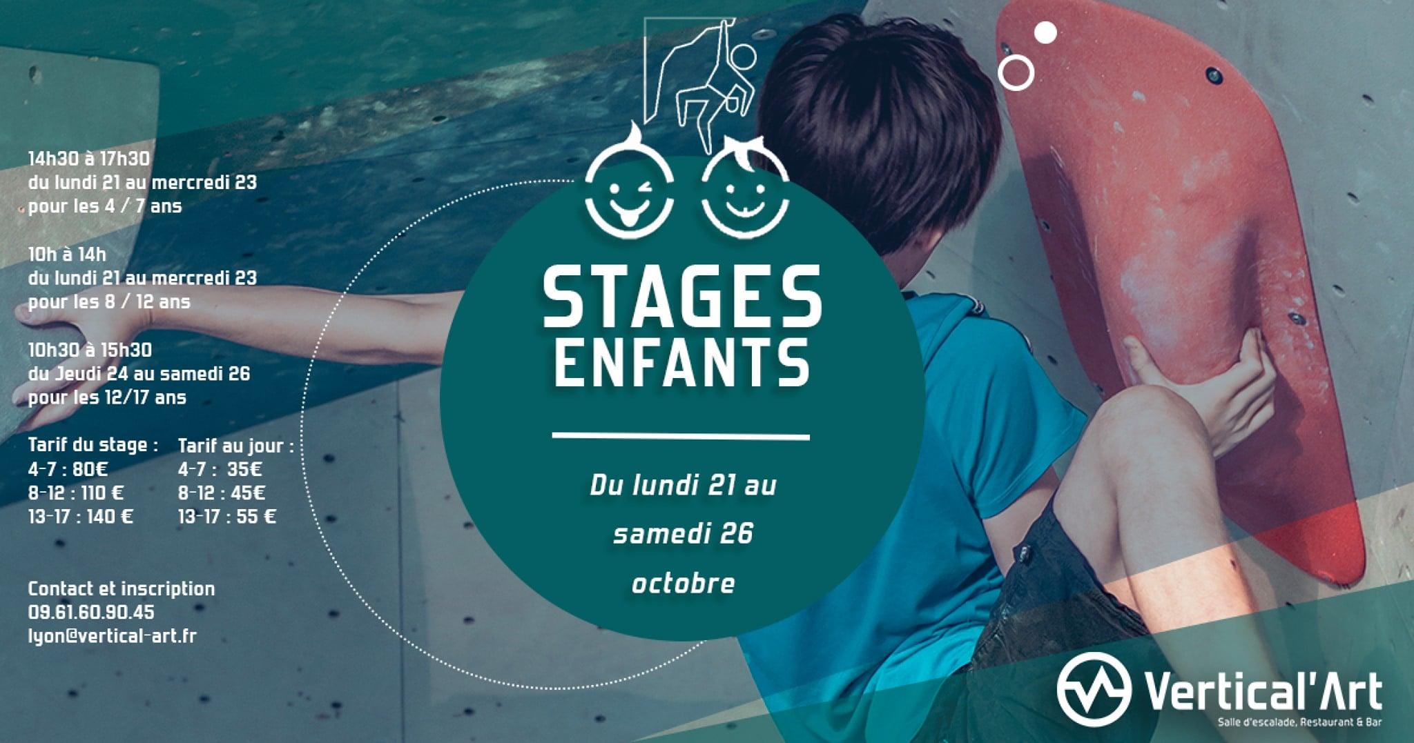 stage enfant à Vertical'Art Lyon - salle d'escalade de bloc - restaurant et bar - stage adolescent - stage préado - stage 4-7ans - ludique et encadré par nos moniteur d'escalade
