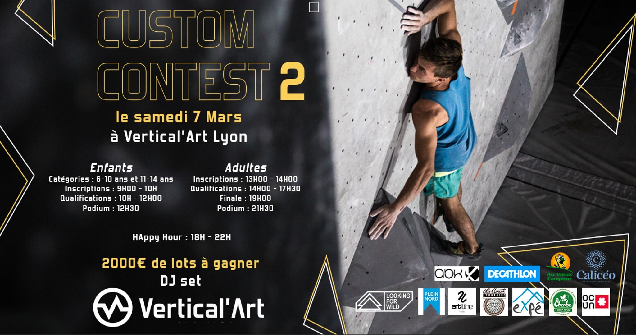 Contest d'escalade de Bloc- Vertical'art Lyon- Salle d'escalade de bloc- Salle d'escalade Lyonnaise- Contest d'escalade- Enfants adultes - Salle de restauration et d'escalade - Bar/Restaurant Vertical'Art Lyon