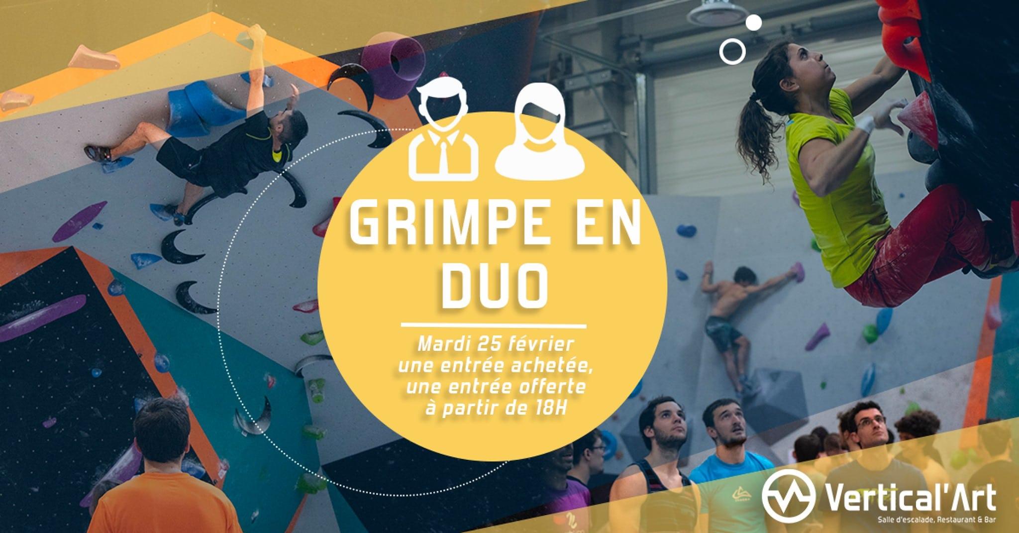 Vertical'Art Lyon - Soirée grimpe en duo à Vertical'Art - Sortir à Lyon - Sortie sportive à 2 à Lyon - Escalade restauration détente à Vertical'Art Lyon - Grimpe en duo à VA Lyon
