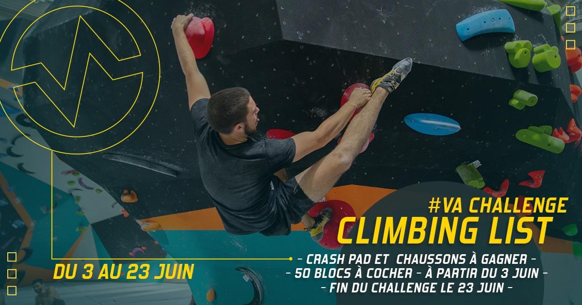 challenge grimpant chez Vertical'Art Lyon salle d'escalade restaurant et bar Climbing list