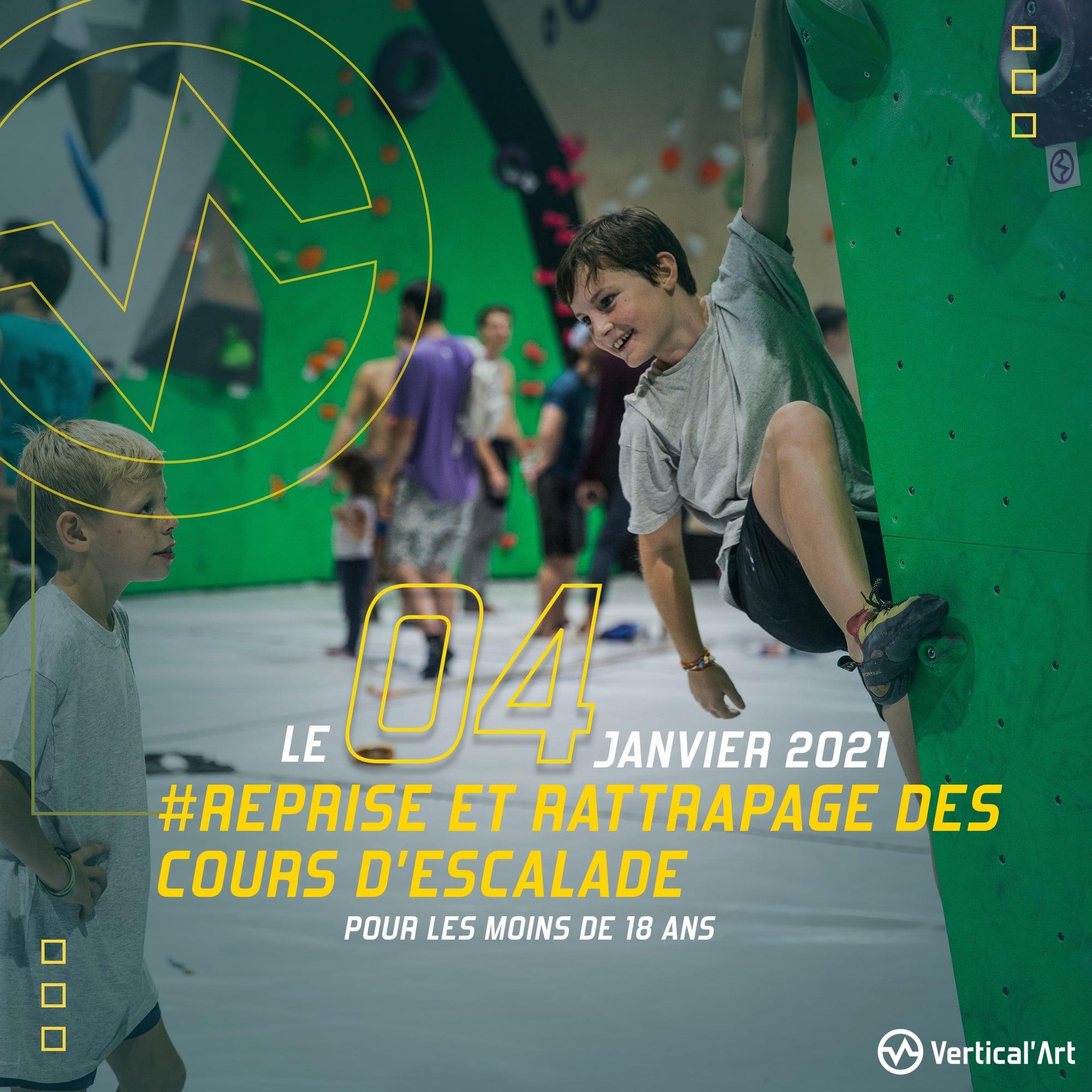 Reprise et rattrapage des cours d'escalade pour les mineurs le 4 janvier à Vertical'Art Lyon