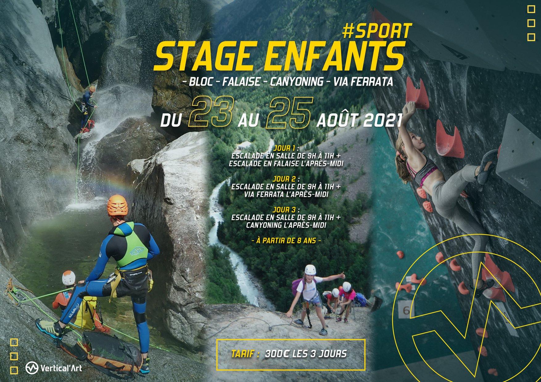 Stage enfants, bloc, falaise, canyoning, via ferrata à Vertical'Art Lyon, du 23 au 25 août 2021