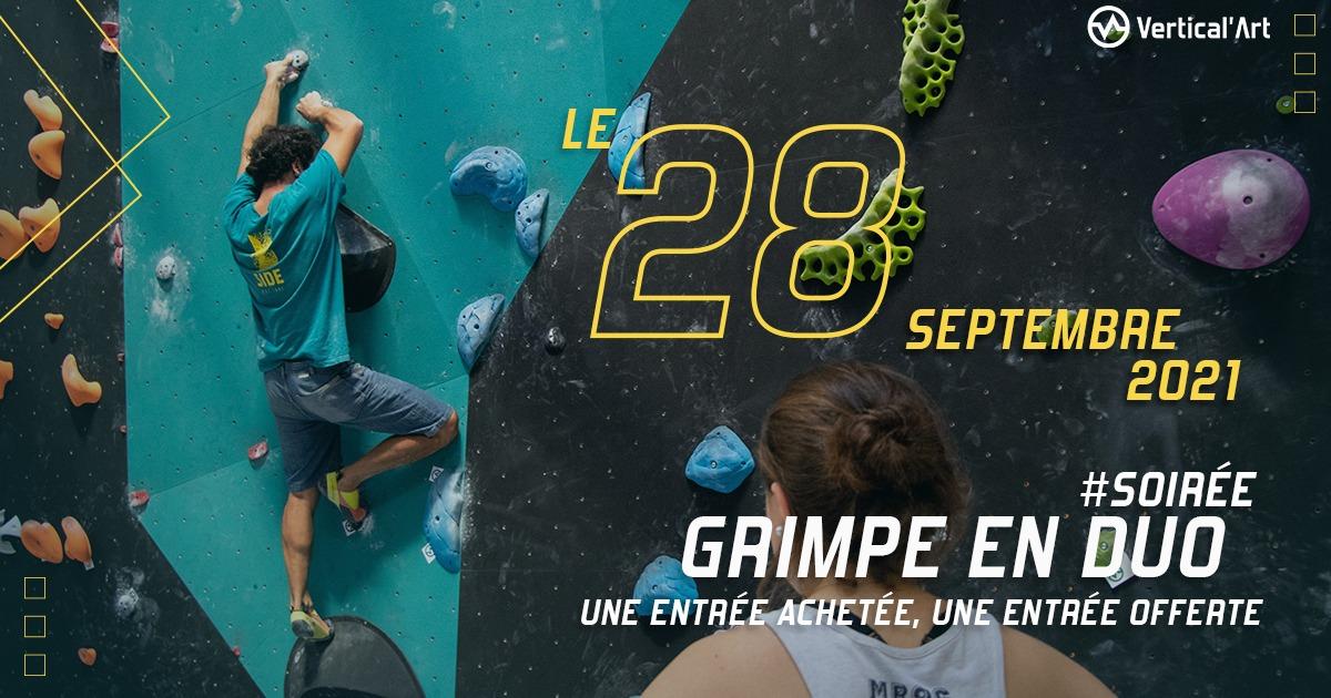 Soirée grimpe en duo le mardi 28 septembre 2021 dans votre salle Vertical'Art Lyon, une entrée offerte pour une entrée achetée
