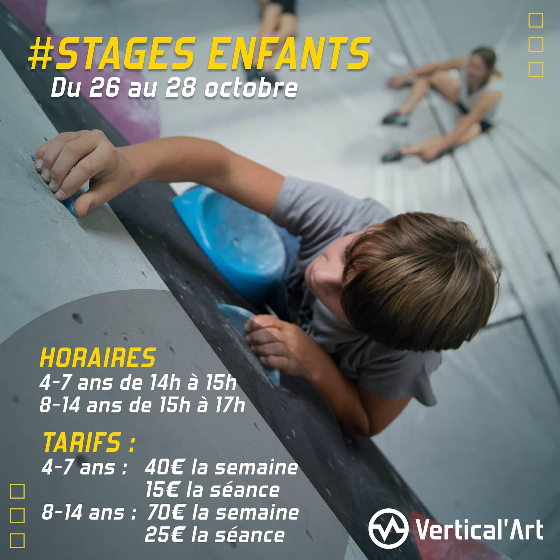 Stages vacances de la Toussaint à Vertical'Art Lyon du 26 au 28 octobre, inscriptions ouvertes